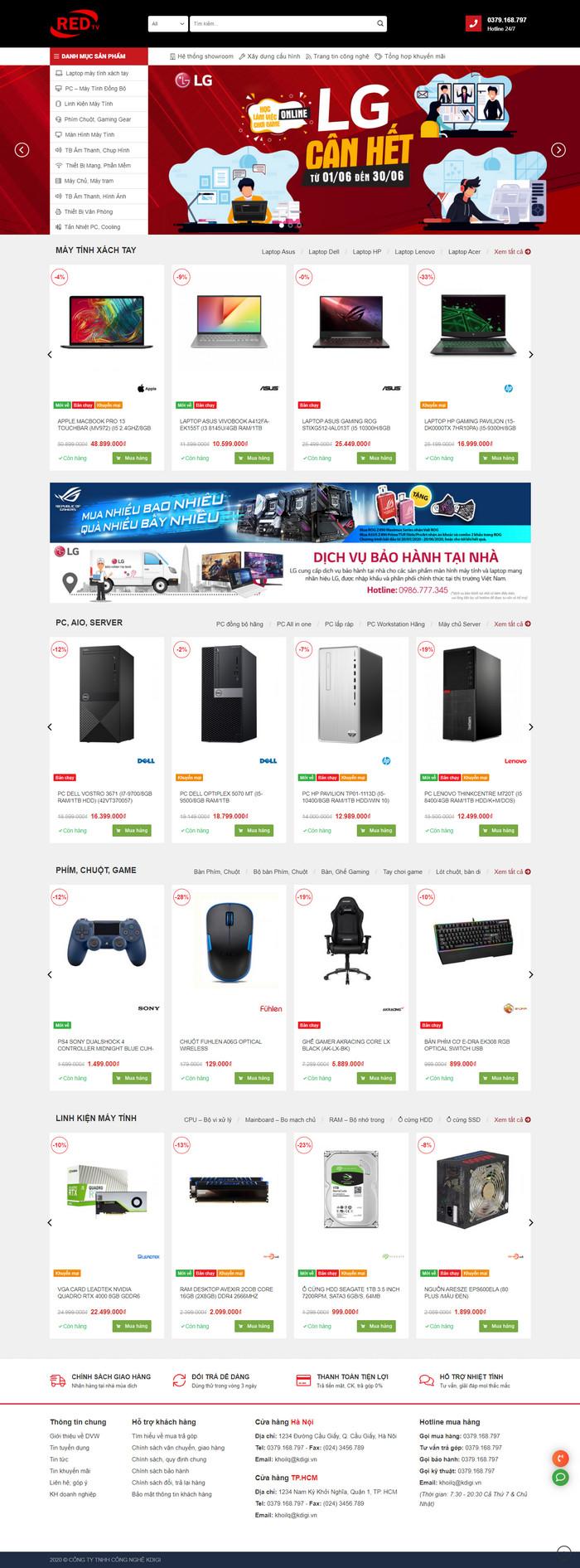 Theme WordPress bán hàng Máy Tính, Laptop, Linh kiện điện tử M148