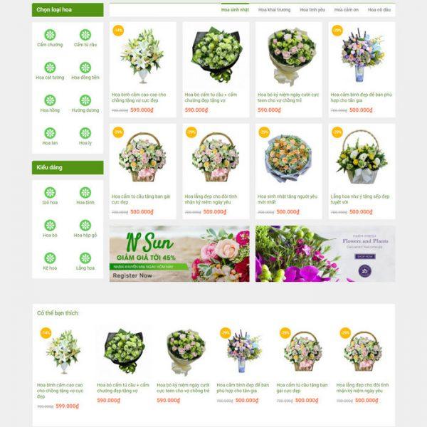Theme Wordpress bán hàng Shop cửa hàng Hoa Tươi hình 2
