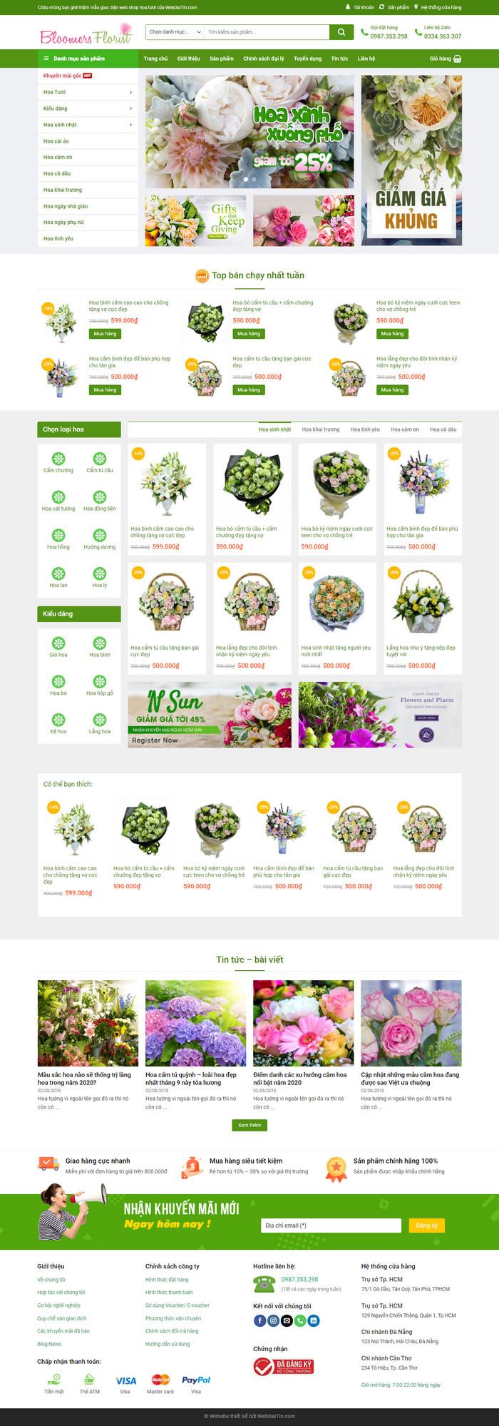 Theme WordPress bán hàng Shop Hoa Tươi M139