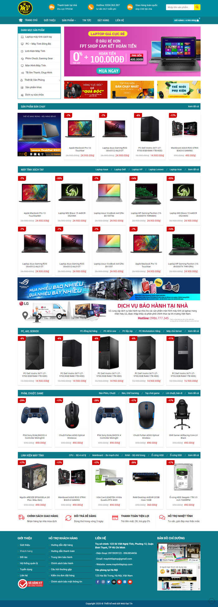 Theme WordPress bán Laptop, Máy Tính PC, Linh kiện điện tử M169