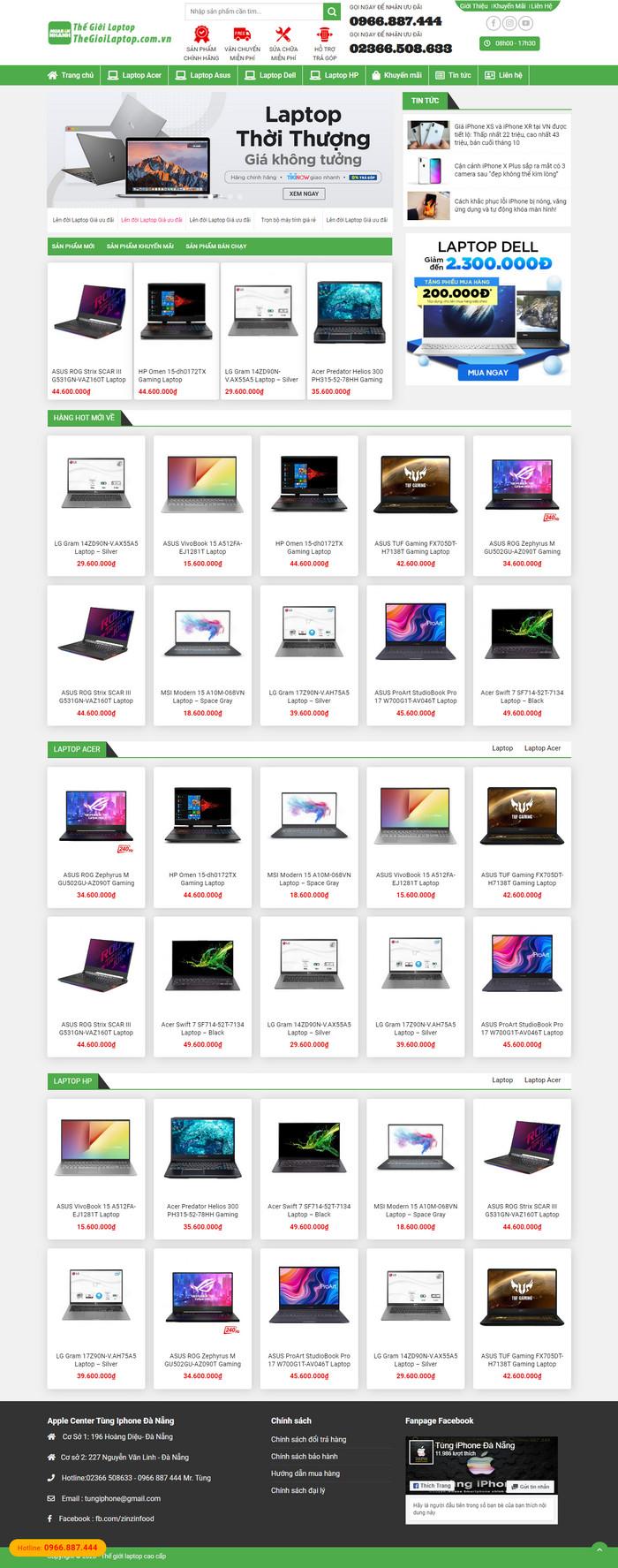 Theme WordPress bán Laptop Máy Tính Xách Tay M176