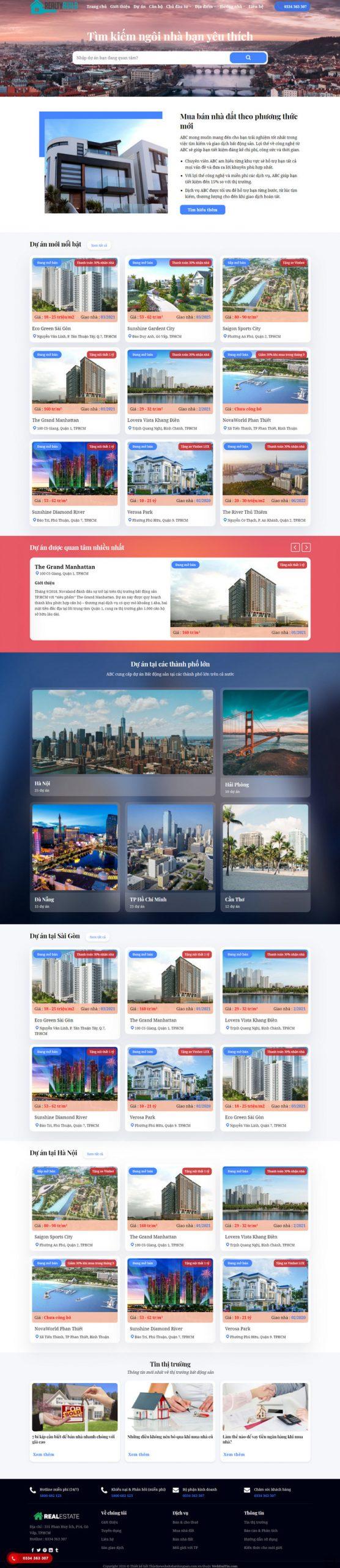 Theme WordPress Bất Động Sản Cao Cấp M192