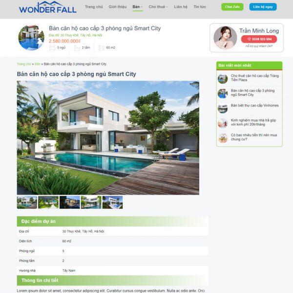 Theme Wordpress Cao Cấp Cho Thuê - Bán Bất Động Sản Mẫu 89 hình 4