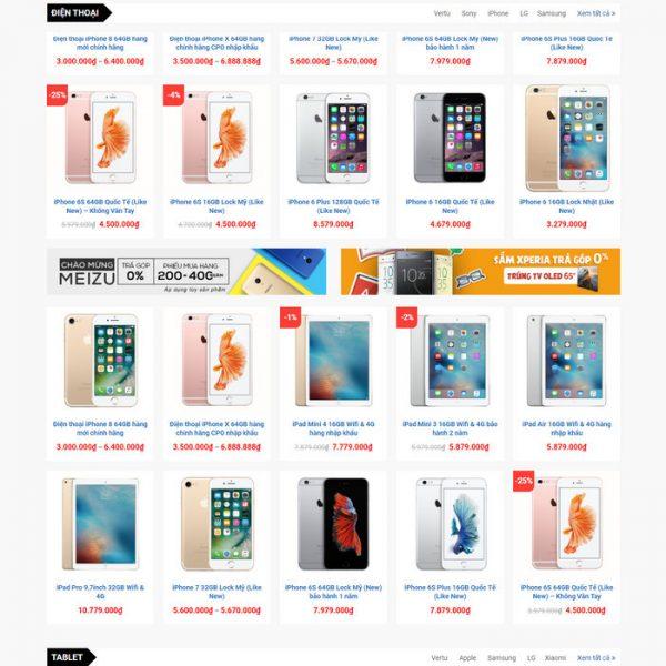 Theme Wordpress bán hàng điện thoại, máy tính giống Thegioididong M198 hình 3