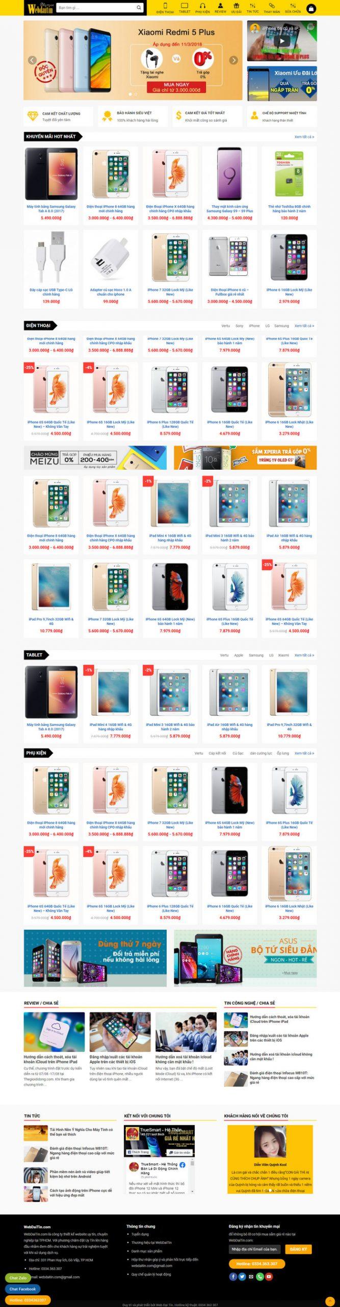 Theme WordPress bán hàng điện thoại, máy tính giống Thegioididong M198