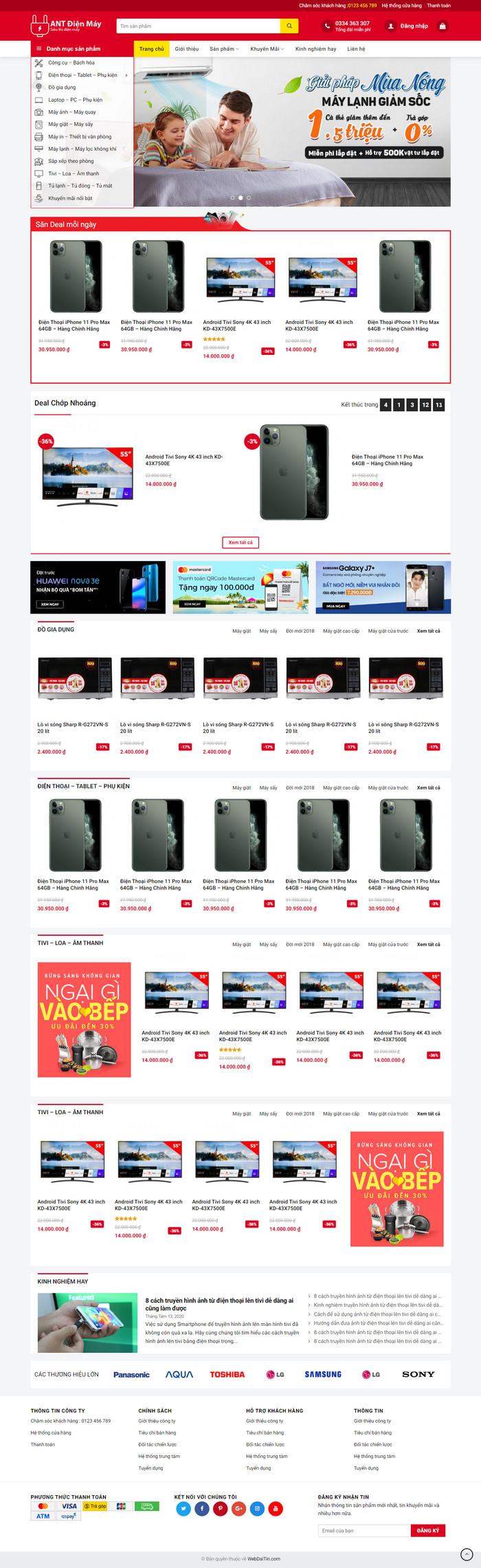 Theme WordPress bán hàng điện máy mẫu số 4