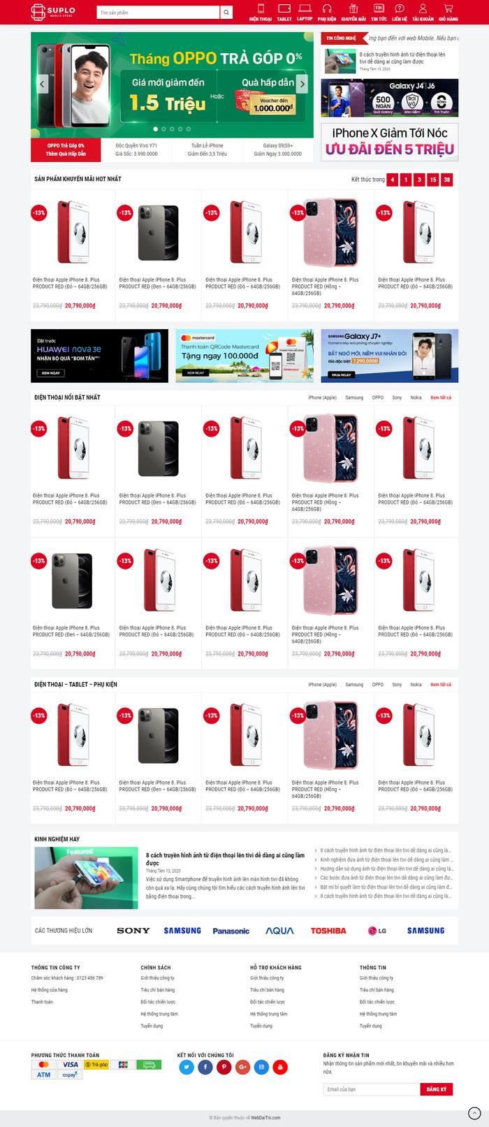Theme WordPress bán hàng điện thoại máy tính mẫu số 4