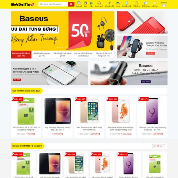Theme Wordpress bán hàng phụ kiện điện thoại M206 hình 2