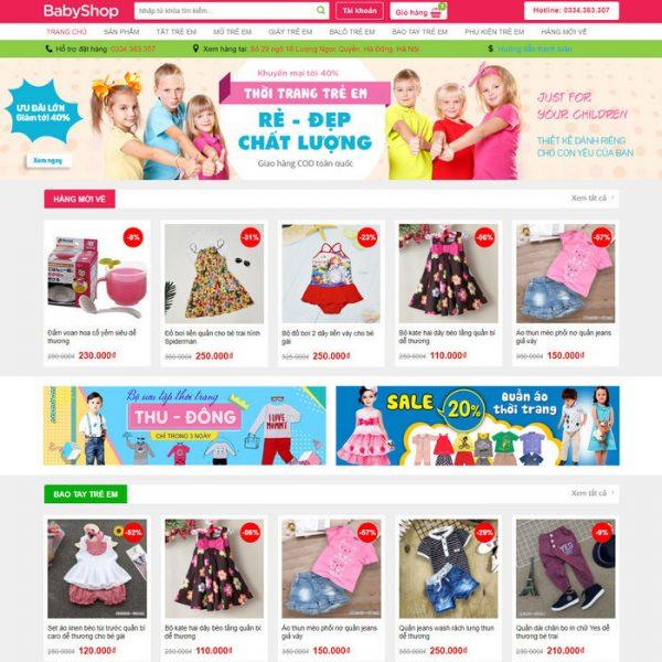 Theme Wordpress bán hàng thời trang trẻ em M199 hình 2
