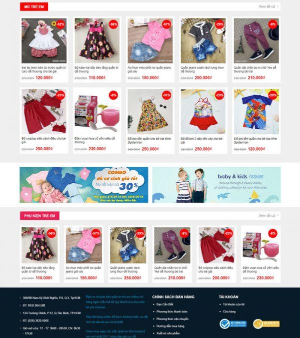 Theme Wordpress bán hàng thời trang trẻ em M199 hình 3