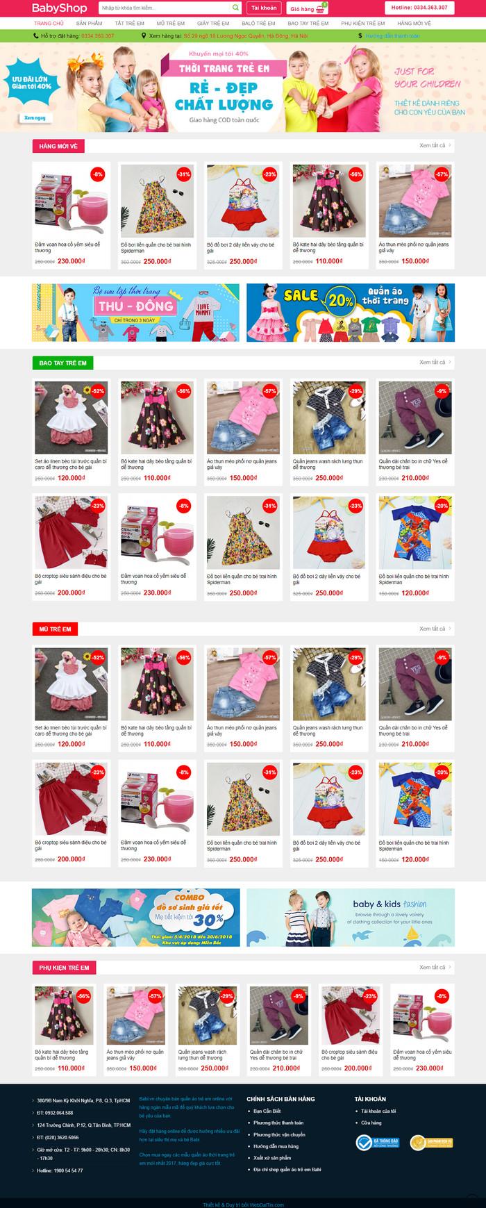 Theme WordPress bán hàng thời trang trẻ em M199
