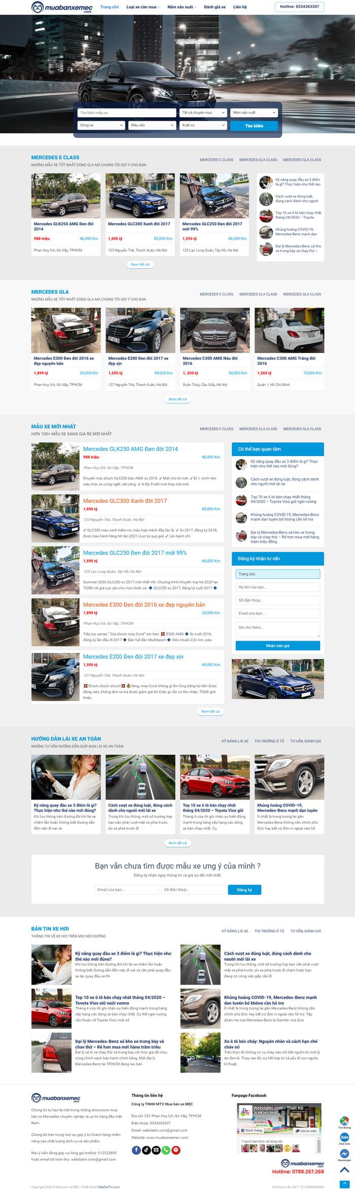 Theme WordPress mua bán Ô Tô xe hơi cũ M200