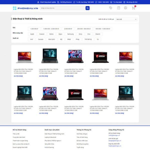 Theme Wordpress bán hàng điện máy giống Phong Vũ M213 hình 5