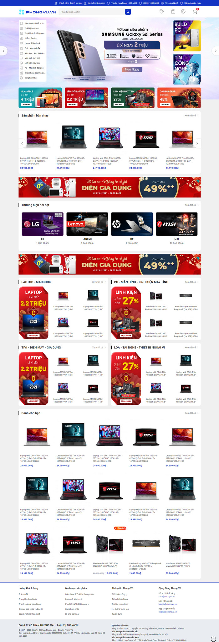 Theme WordPress bán hàng điện máy giống Phong Vũ M213