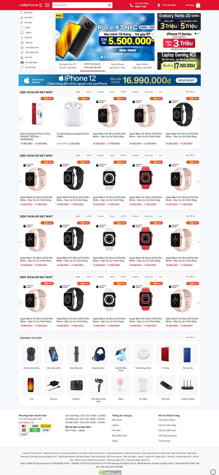 Theme WordPress bán hàng điện thoại, laptop, phụ kiện giống Cellphones M212